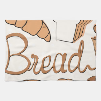 Baker and different kind of bread kitchen towel