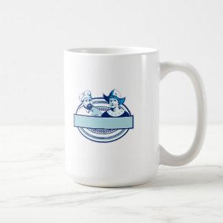Baker and Dutch Lady Banner Oval Retro Coffee Mug