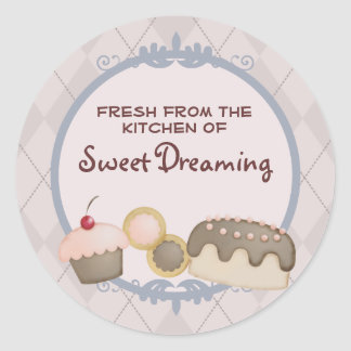 baker baking cupcake cookies cake gift stickers... round sticker