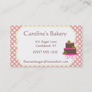 Vintage baker business cards business card printing zazzle ca baker baking pink polka dot business card reheart Image collections