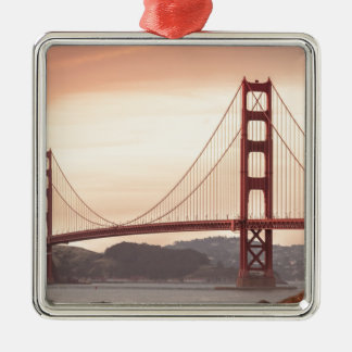 Baker beach holiday Silver-Colored square ornament