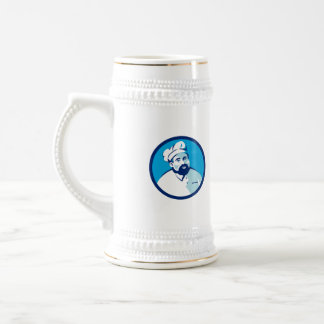 Baker Chef Cook Bearded Circle Retro Beer Stein