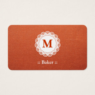 Baker Elegant Lace Monogram Business Card