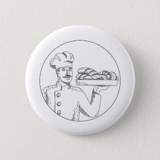 Baker Holding Bread on Plate Doodle Art 2 Inch Round Button