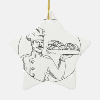 Baker Holding Bread on Plate Doodle Art Ceramic Ornament