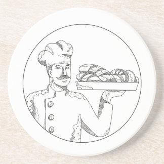 Baker Holding Bread on Plate Doodle Art Coaster