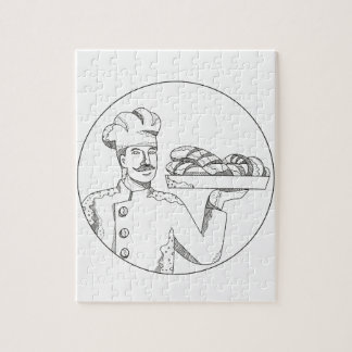 Baker Holding Bread on Plate Doodle Art Jigsaw Puzzle