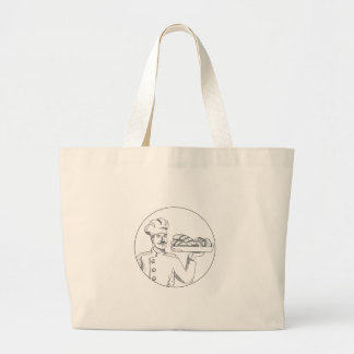 Baker Holding Bread on Plate Doodle Art Large Tote Bag