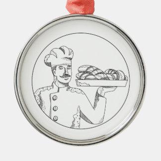 Baker Holding Bread on Plate Doodle Art Metal Ornament