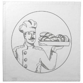 Baker Holding Bread on Plate Doodle Art Napkin
