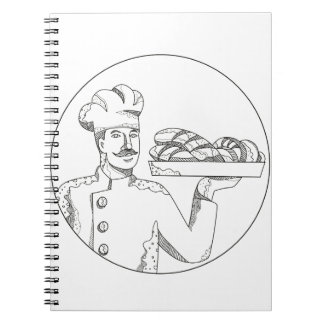 Baker Holding Bread on Plate Doodle Art Notebook