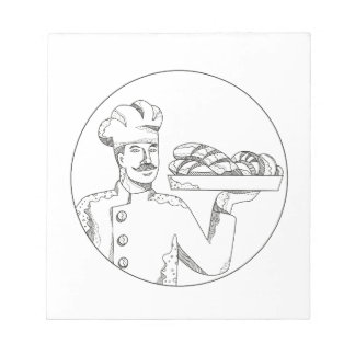 Baker Holding Bread on Plate Doodle Art Notepad