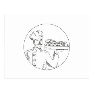Baker Holding Bread on Plate Doodle Art Postcard