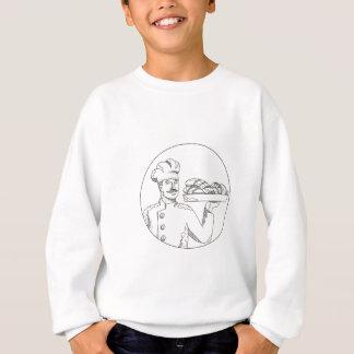 Baker Holding Bread on Plate Doodle Art Sweatshirt