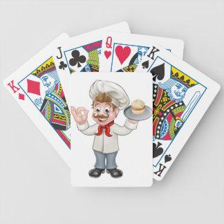 Baker Holding Cake Cartoon Mascot Bicycle Playing Cards
