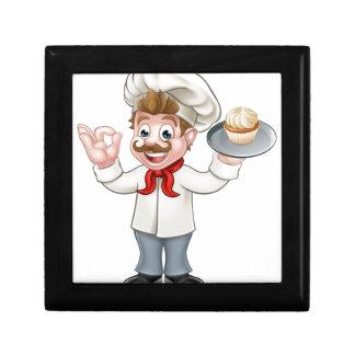 Baker Holding Cake Cartoon Mascot Gift Box