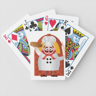 Baker with Bread and Rolling Pin Illustration Poker Deck