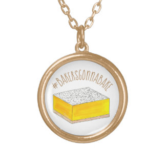 Bakers Gonna Bake Hashtag Yellow Lemon Square Bar Gold Plated Necklace