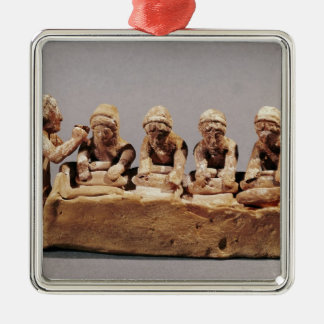 Bakers kneading dough at Thebes Silver-Colored Square Ornament