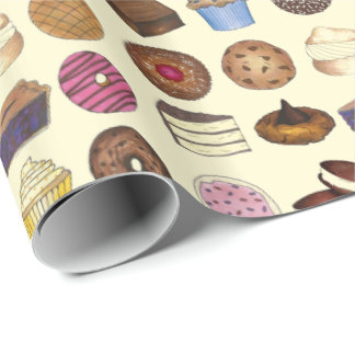 Bakery Bake Sale Foods Brownie Cupcake Pie Sweets Wrapping Paper