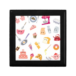 Bakery beverage and sweet kitchen cute icon set gift box