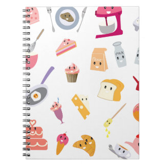 Bakery beverage and sweet kitchen cute icon set notebook