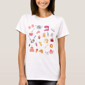 Bakery beverage and sweet kitchen cute icon set T-Shirt