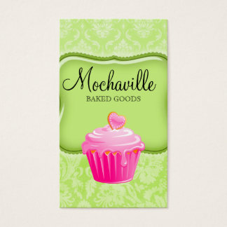 Bakery Business Card Vintage Damask Lime