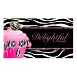 Bakery Business Card Zebra Pink Cupcake Damask