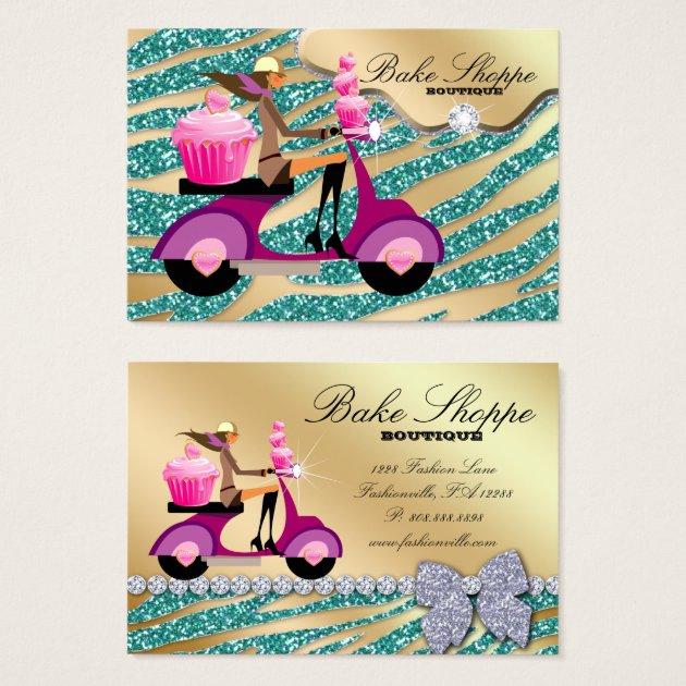 Bakery Business Card Zebra Teal Gold Sparkle | Zazzle Zebra
