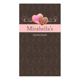 Bakery Cookie Cute Damask Swirl Pink Brown Business Card Template