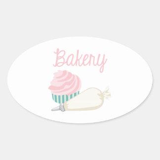 Bakery Cupcake Oval Sticker