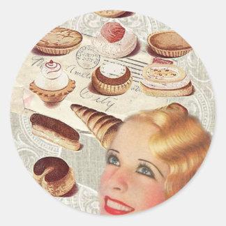 bakery cupcake pastry retro lady paris classic round sticker