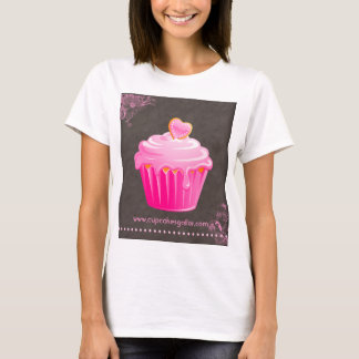Bakery Cute Cupcake Floral Heart Pink Icing T-Shirt