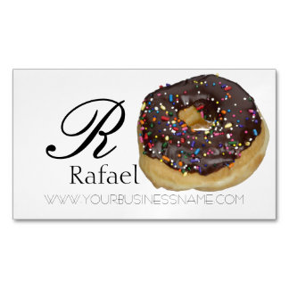 Bakery Donut Elegant Name Monogram Business Magnetic Business Card