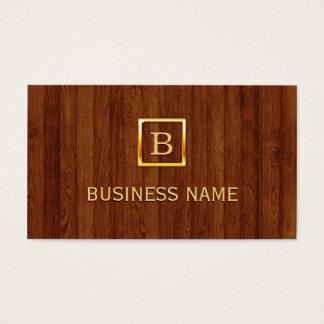 Bakery Gold Monogram Elegant Wood Business Card