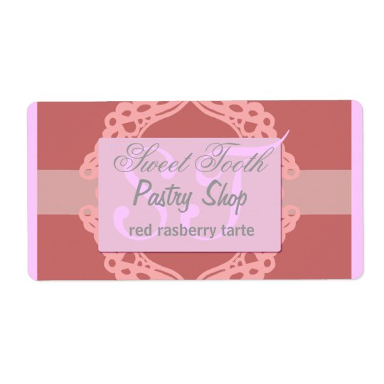 Bakery label pink and silver lace