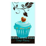 Bakery leaf cupcake blue chocolate brown business cards