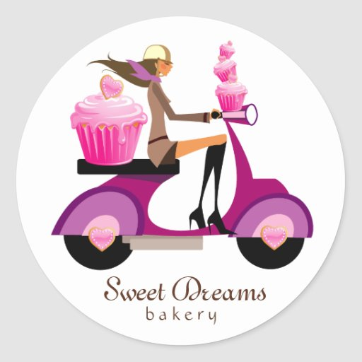 Bakery Stickers Pink Cupcake Scooter Girl