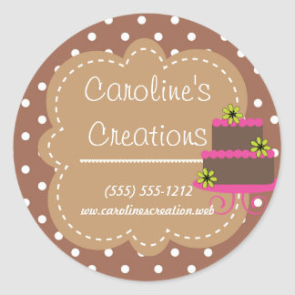 Baking and Bakery Boutique, Brown Polka Dot Classic Round Sticker