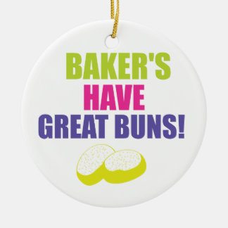 Baking - Bakers Have Good Buns Round Ceramic Ornament