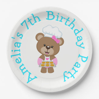 Baking Bear Birthday Party 9 Inch Paper Plate