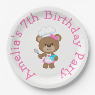 Baking Bear Birthday Party Paper Plate