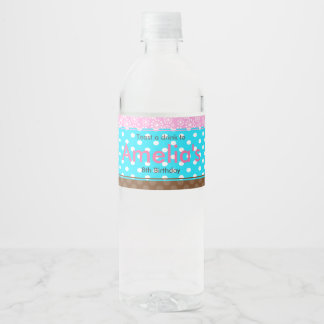 Baking Bear Birthday Party Water Bottle Label