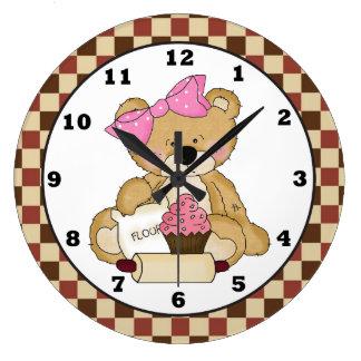 Baking Bear cartoon kitchen wall clock