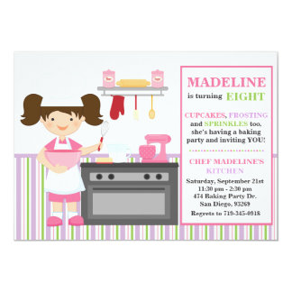 Baking Birthday Party Invitation Brown Hair