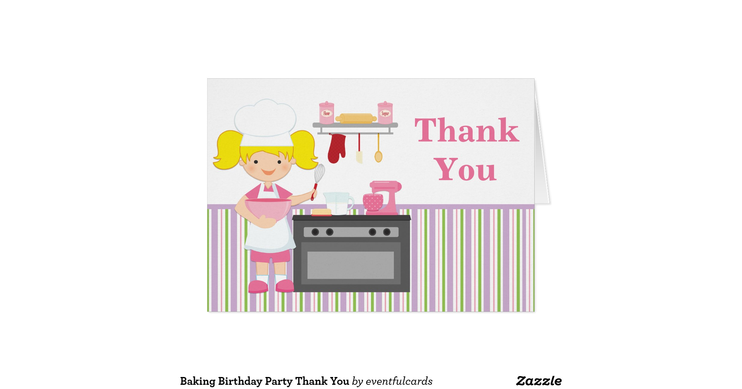 Thank You For Baking: Baking Birthday Party Thank You Note Card