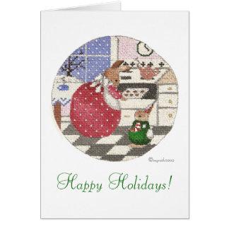 baking bunny Happy Holidays! Card