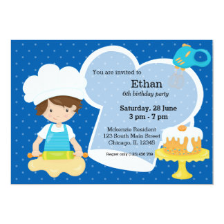 """Baking * choose your background color 5"""" x 7"""" invitation card"""