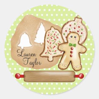 Baking Christmas Cookies Round Sticker